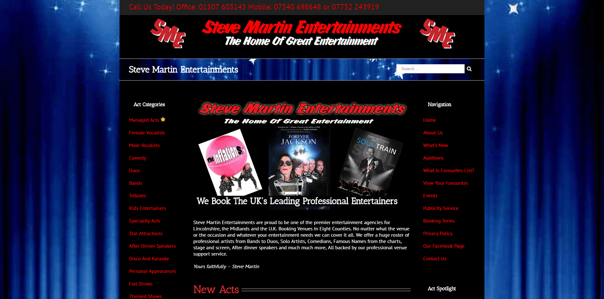 steve martin entertainments screen shot
